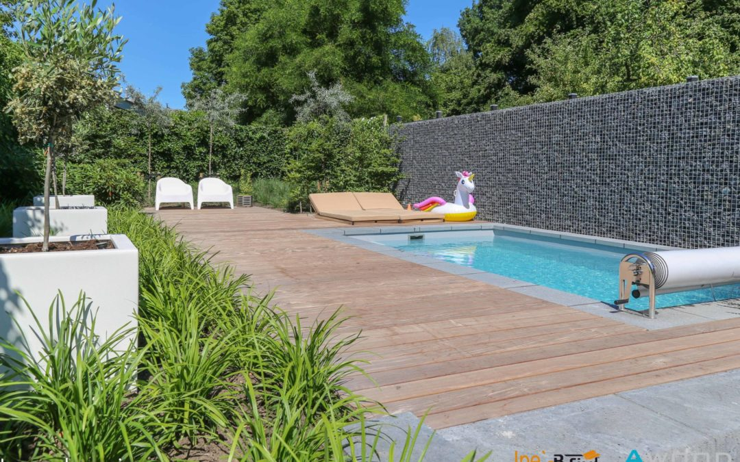 Ipé B-fix rond zwembad.